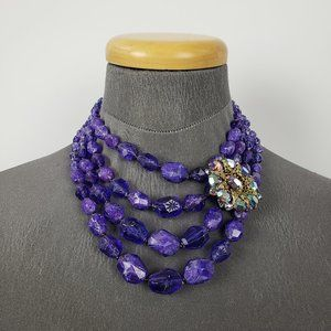 Vintage Germany Purple Beaded Rhinestone Necklace